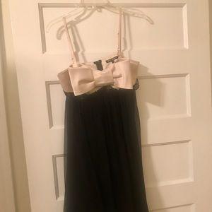 Betsey Johnson Tuxedo Satin Bow Dress